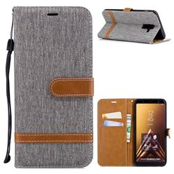 Jeans Cowboy Denim Leather Wallet Case for Samsung Galaxy A6 Plus (2018) - Gray