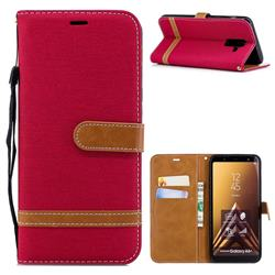 Jeans Cowboy Denim Leather Wallet Case for Samsung Galaxy A6+ (2018) - Red