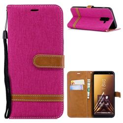 Jeans Cowboy Denim Leather Wallet Case for Samsung Galaxy A6 Plus (2018) - Rose