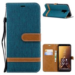 Jeans Cowboy Denim Leather Wallet Case for Samsung Galaxy A6+ (2018) - Green