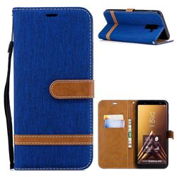 Jeans Cowboy Denim Leather Wallet Case for Samsung Galaxy A6 Plus (2018) - Sapphire