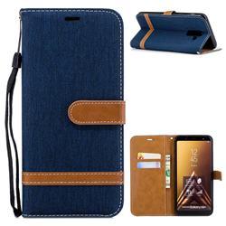 Jeans Cowboy Denim Leather Wallet Case for Samsung Galaxy A6+ (2018) - Dark Blue