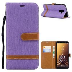 Jeans Cowboy Denim Leather Wallet Case for Samsung Galaxy A6+ (2018) - Purple