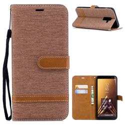 Jeans Cowboy Denim Leather Wallet Case for Samsung Galaxy A6+ (2018) - Brown
