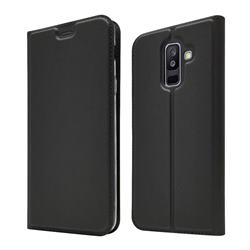 Ultra Slim Card Magnetic Automatic Suction Leather Wallet Case for Samsung Galaxy A6+ (2018) - Star Grey