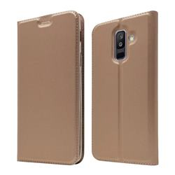 Ultra Slim Card Magnetic Automatic Suction Leather Wallet Case for Samsung Galaxy A6+ (2018) - Rose Gold