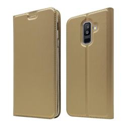 Ultra Slim Card Magnetic Automatic Suction Leather Wallet Case for Samsung Galaxy A6+ (2018) - Champagne