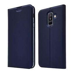Ultra Slim Card Magnetic Automatic Suction Leather Wallet Case for Samsung Galaxy A6+ (2018) - Royal Blue