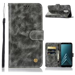 Luxury Retro Leather Wallet Case for Samsung Galaxy A6 Plus (2018) - Gray
