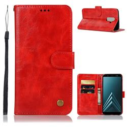 Luxury Retro Leather Wallet Case for Samsung Galaxy A6 Plus (2018) - Red