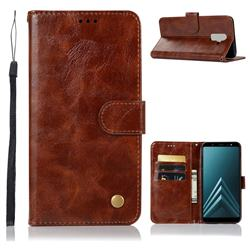 Luxury Retro Leather Wallet Case for Samsung Galaxy A6 Plus (2018) - Brown