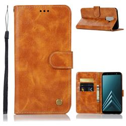Luxury Retro Leather Wallet Case for Samsung Galaxy A6 Plus (2018) - Golden