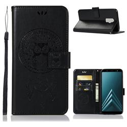 Intricate Embossing Owl Campanula Leather Wallet Case for Samsung Galaxy A6 Plus (2018) - Black