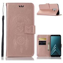 Intricate Embossing Owl Campanula Leather Wallet Case for Samsung Galaxy A6 Plus (2018) - Rose Gold
