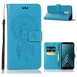 Intricate Embossing Owl Campanula Leather Wallet Case for Samsung Galaxy A6 Plus (2018) - Blue