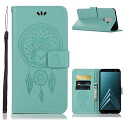 Intricate Embossing Owl Campanula Leather Wallet Case for Samsung Galaxy A6 Plus (2018) - Green