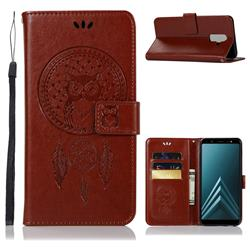 Intricate Embossing Owl Campanula Leather Wallet Case for Samsung Galaxy A6 Plus (2018) - Brown
