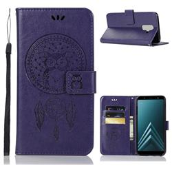 Intricate Embossing Owl Campanula Leather Wallet Case for Samsung Galaxy A6 Plus (2018) - Purple