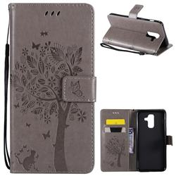 Embossing Butterfly Tree Leather Wallet Case for Samsung Galaxy A6 Plus (2018) - Grey