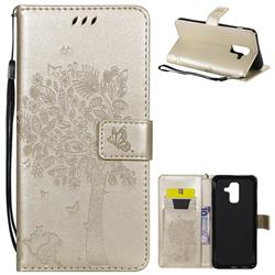 Embossing Butterfly Tree Leather Wallet Case for Samsung Galaxy A6 Plus (2018) - Champagne