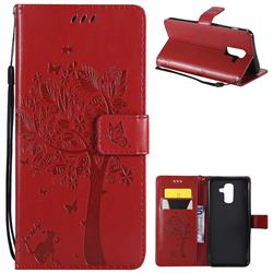 Embossing Butterfly Tree Leather Wallet Case for Samsung Galaxy A6 Plus (2018) - Red
