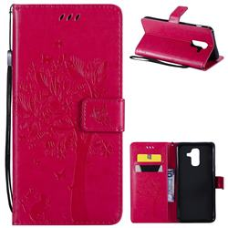 Embossing Butterfly Tree Leather Wallet Case for Samsung Galaxy A6 Plus (2018) - Rose