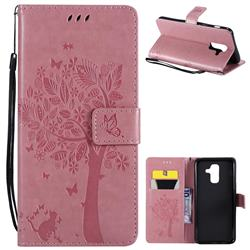 Embossing Butterfly Tree Leather Wallet Case for Samsung Galaxy A6 Plus (2018) - Pink