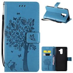 Embossing Butterfly Tree Leather Wallet Case for Samsung Galaxy A6 Plus (2018) - Blue