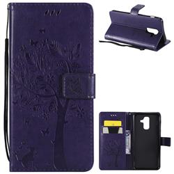 Embossing Butterfly Tree Leather Wallet Case for Samsung Galaxy A6 Plus (2018) - Purple