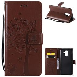 Embossing Butterfly Tree Leather Wallet Case for Samsung Galaxy A6 Plus (2018) - Brown