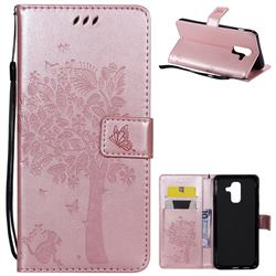Embossing Butterfly Tree Leather Wallet Case for Samsung Galaxy A6 Plus (2018) - Rose Pink