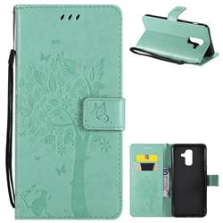 Embossing Butterfly Tree Leather Wallet Case for Samsung Galaxy A6 Plus (2018) - Cyan