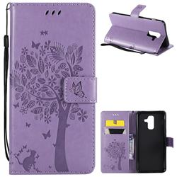 Embossing Butterfly Tree Leather Wallet Case for Samsung Galaxy A6 Plus (2018) - Violet