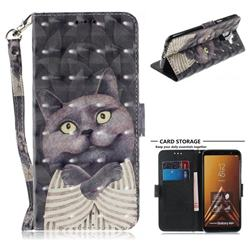 Cat Embrace 3D Painted Leather Wallet Phone Case for Samsung Galaxy A6 Plus (2018)