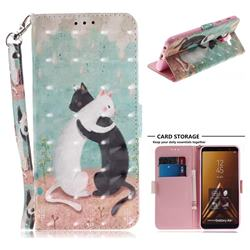 Black and White Cat 3D Painted Leather Wallet Phone Case for Samsung Galaxy A6 Plus (2018)