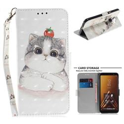 Cute Tomato Cat 3D Painted Leather Wallet Phone Case for Samsung Galaxy A6 Plus (2018)