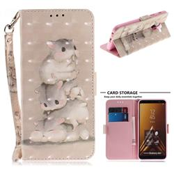 Three Squirrels 3D Painted Leather Wallet Phone Case for Samsung Galaxy A6 Plus (2018)