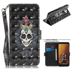 Skull Cat 3D Painted Leather Wallet Phone Case for Samsung Galaxy A6 Plus (2018)
