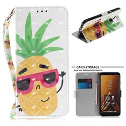 Pineapple Glasses 3D Painted Leather Wallet Phone Case for Samsung Galaxy A6 Plus (2018)