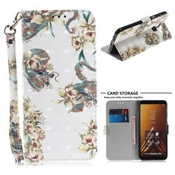 Dragon Flower 3D Painted Leather Wallet Phone Case for Samsung Galaxy A6 Plus (2018)