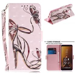 Butterfly High Heels 3D Painted Leather Wallet Phone Case for Samsung Galaxy A6 Plus (2018)