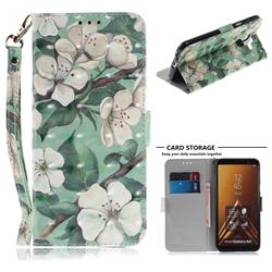Watercolor Flower 3D Painted Leather Wallet Phone Case for Samsung Galaxy A6 Plus (2018)