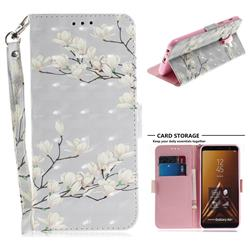 Magnolia Flower 3D Painted Leather Wallet Phone Case for Samsung Galaxy A6 Plus (2018)
