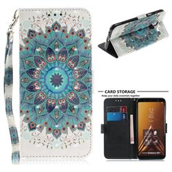 Peacock Mandala 3D Painted Leather Wallet Phone Case for Samsung Galaxy A6 Plus (2018)