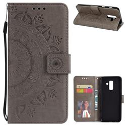 Intricate Embossing Datura Leather Wallet Case for Samsung Galaxy A6 Plus (2018) - Gray