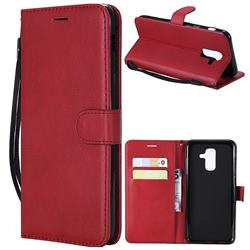 Retro Greek Classic Smooth PU Leather Wallet Phone Case for Samsung Galaxy A6 Plus (2018) - Red