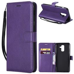 Retro Greek Classic Smooth PU Leather Wallet Phone Case for Samsung Galaxy A6 Plus (2018) - Purple