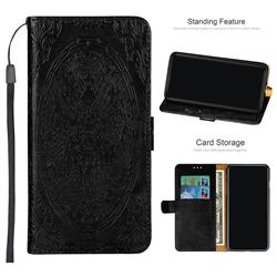 Intricate Embossing Dragon Totem Leather Wallet Case for Samsung Galaxy A6+ (2018) - Black