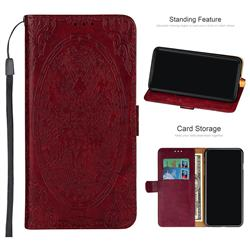 Intricate Embossing Dragon Totem Leather Wallet Case for Samsung Galaxy A6+ (2018) - Red