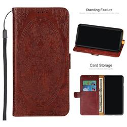 Intricate Embossing Dragon Totem Leather Wallet Case for Samsung Galaxy A6+ (2018) - Red Brown